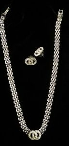 Jewelry - Silver & Rhinestone Necklace and earrings